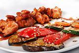 Tepan - yaki meat and vegetables closeup