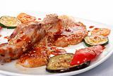 Bone beef platter. Teppan-yaki dish