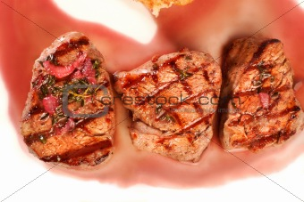 Grilled meat closeup
