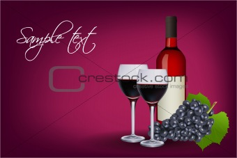 wine glasses with bottle and grapes