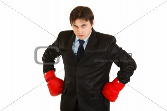 Angry young businessman with boxing gloves