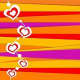 valentine card on stripped background