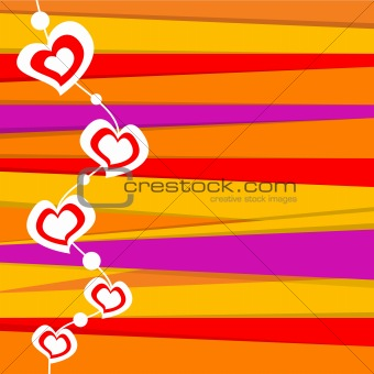 valentine card on stripped background