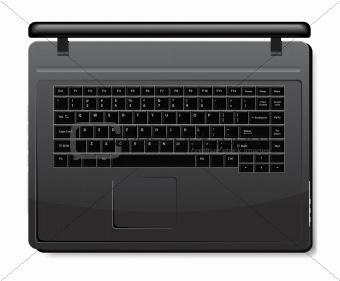 Black laptop isolated on white background