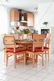 Kitchen and dining room interior