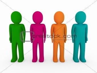 3d human team green pink orange turquoise