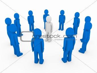 3d human circle blue white