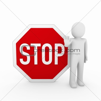 3d human stop red sign