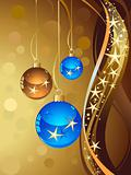 Christmas illustration with color ball and gold stars