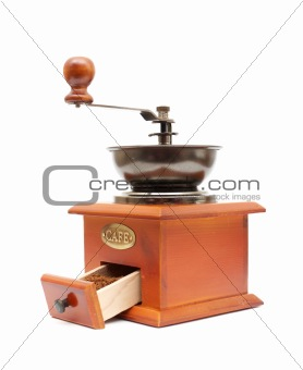 old wooden worm eaten coffee mill