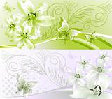 Two horizontal floral banner. Vector illustration.
