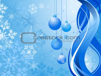 Abstract blue background with Christmas balls