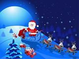 Santa Claus with Sledge, vector illustration