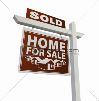 Red Sold Home for Sale Real Estate Sign Isolated on a White Background.