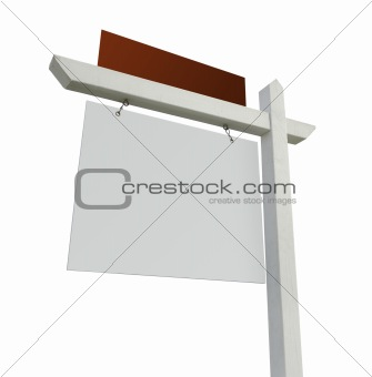 Blank Red and White Real Estate Sign Isolated on a White Background.