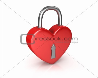 Red lock formed as heart