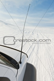 4x4 driving on a glacier