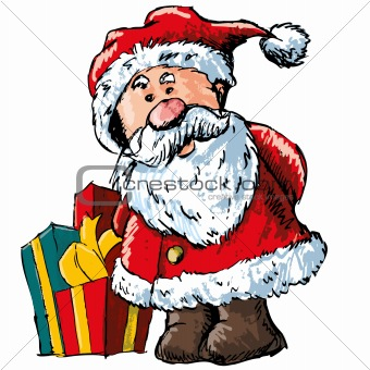 Cartoon Santa with some gifts