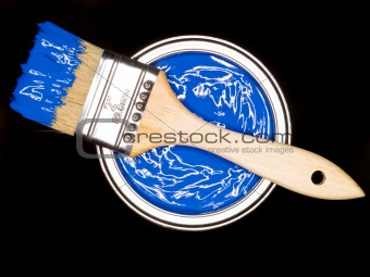 Blue Paint can and brush