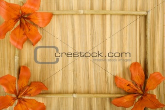 Frame of flowers and bamboo sticks