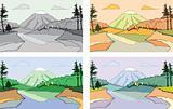 Cartoon scene of the mountain landscape.