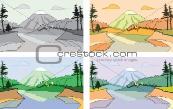 Cartoon scene of the mountain landscape.