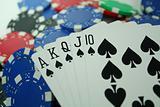 Royal Flush on Poker Chips