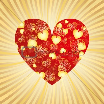 Valentine gold card with heart