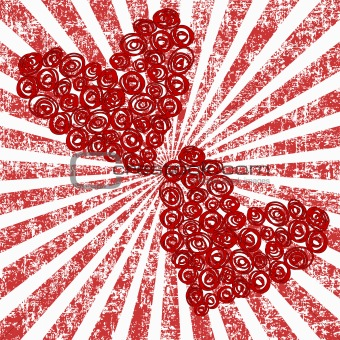 Abstract stylized roses hearts over grunge sunburst background