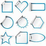 Different shaped stickers with colored curled glossy paper corne