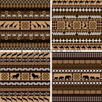 Four backgrounds with African motifs and animals