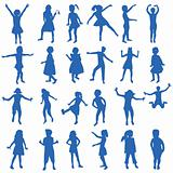 Set of hand drawn children silhouettes