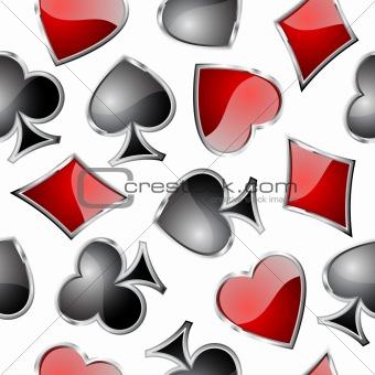 Playing card symbols seamless pattern.