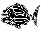 Black tribal fish tattoo - piranha