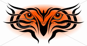 Tiger eyes, tribal tattoo