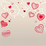 Contour red hearts on pastel background