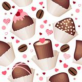 Seamless pattern with chocolates