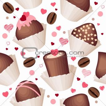 Seamless pattern with chocolates