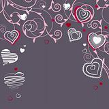 Contour red hearts on dark background