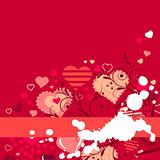 Contour red hearts on red background