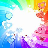 Rainbow swirl background with hearts