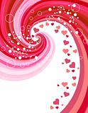 Red hearts on abstract background