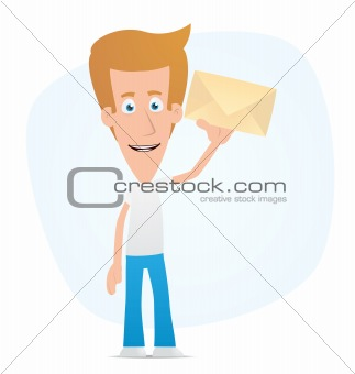 Casual man standing with a letter