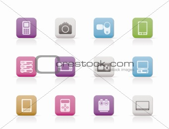 technical, media and electronics icons