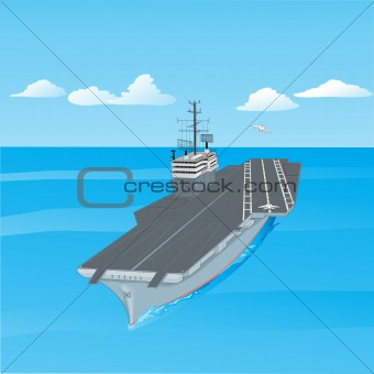 Aircraft carrier floating on waves with plane flying up