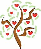 Vector apple tree with red fruits in the form of heart
