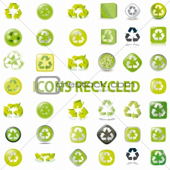 38 set recycle icons vector