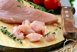 raw sliced chicken on a wooden board