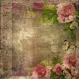 Vintage  album cover  with roses and space for text ( 1 of set)