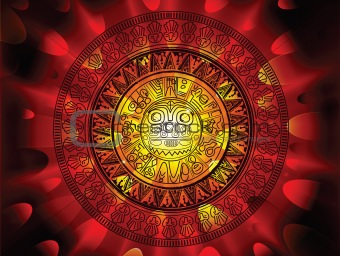 Maya calendar on a end of days background
